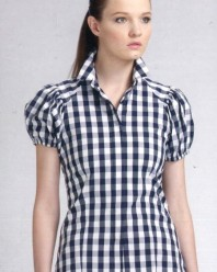 Window Pane Short Sleeves Cotton Shirt